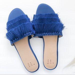 A New Day Flat Royal Blue Tassel Sandal Mules